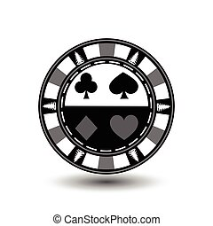 Poker chip Christmas. Gray. With a spade, diamond, club, and the heart of the suit in the middle  on the sides  trees  Illustration vector. Use for the site, printing, paper, cloth, decoration, design, etc. EPS 10