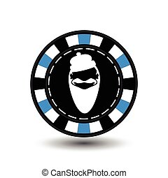 Poker chip Christmas. Blue. With white Santa Claus cap in the middle. Illustration vector. Use for the site, printing, paper, cloth, decoration, design, etc. EPS 10