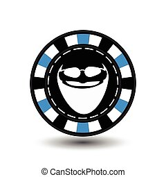Poker chip Christmas. Blue. With Santa Claus white glasses...