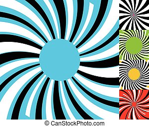 Set of 4 radial lines background. Concentric stripes...