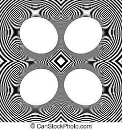 Pattern with mirrored ovals, ellipses, abstract repeatable...