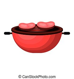 grill with meat isolated icon