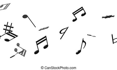 Black Musical Notes On White Background - Loop able 3DCG...
