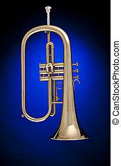 Trumpet Flugelhorn Isolated on Blue