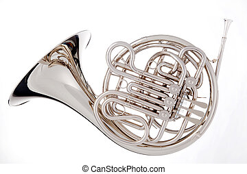French Horn Isolated On White - A silver French horn...