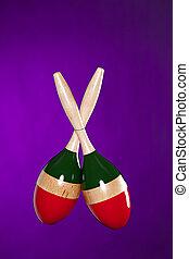 Maracas Isolated on Purple - A pair of Latin maracas...