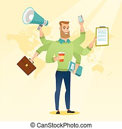 Man coping with multitasking vector illustration. -...