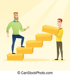 Businessman running upstairs vector illustration. -...