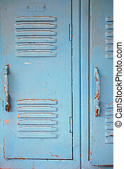 School lockers - Old painted lockers in an inner city...