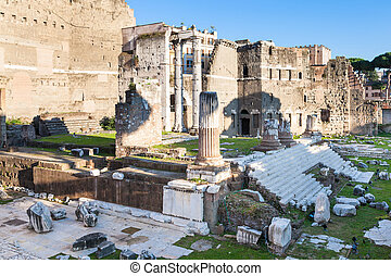 ruins of Forum of Augustus in Rome - travel to Italy - ruins...