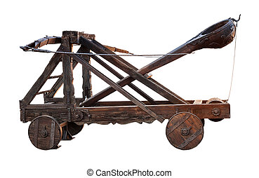 ancient wooden catapult isolated on white background
