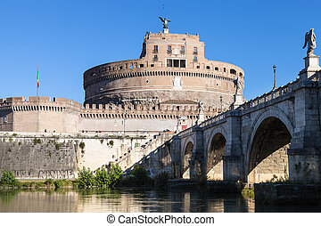 Castle of Holy Angel and St Angel bridge in Rome
