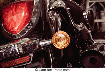 Old and dirty motorcycle tail lights (tail lamp or rear...