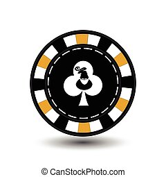 Christmas casino chips. Yellow. Santa Claus on the club suit in the middle. Illustration vector. Use for the site, printing, paper, cloth, decoration, design, etc. EPS 10