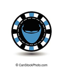 Poker chip Christmas. Blue. Santa Claus beard middle. Illustration vector. Use for the site, printing, paper, cloth, decoration, design, etc. EPS 10