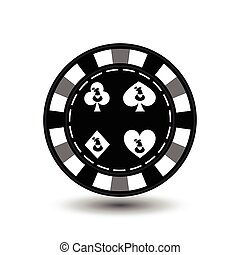 Christmas casino chips. Gray. Santa Claus on a spade, club, diamond, heart suit in the middle. Illustration vector. Use for the site, printing, paper, cloth, decoration, design, etc. EPS 10
