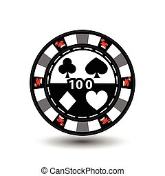 Christmas casino chips. Green. Santa Claus cap on the sides and the number 100 in the middle. Illustration vector. Use for the site, printing, paper, cloth, decoration, design, etc. EPS 10