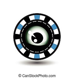 Poker chip Christmas. Blue. The eye looks in the middle. Illustration vector. Use for the site, printing, paper, cloth, decoration, design, etc. EPS 10