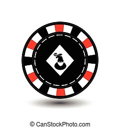 Christmas casino chips. Red. Santa suit a diamond in the middle. Illustration vector. Use for the site, printing, paper, cloth, decoration, design, etc. EPS 10