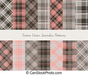 ?????????-14 - Tartan seamless vector patterns in gray-pink...