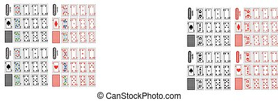 Cards Poker Set Christmas icons. color diamond red,  heart, black club and spade . Santa claus, girl  elf - just schematically, uniformly. Illustration vector. Use for the site, printing, paper, cloth, decoration, design, etc. EPS 10