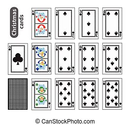 Cards Poker Set Christmas icons. black club suit. Santa claus, girl and elf. Illustration vector. Use for the site, printing, paper, cloth, decoration, design, etc. EPS 10
