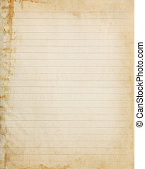 Aged lined copybook paper page with stained edge