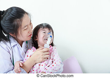 Asian girl having respiratory illness helped by health...