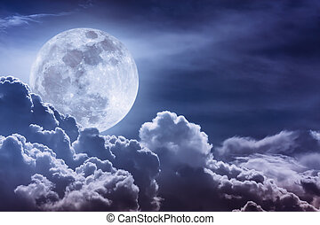 Nighttime sky with clouds and bright full moon with shiny. -...