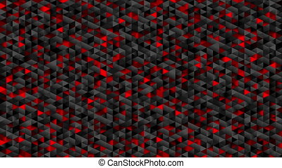 Red black glitter triangles mosaic technical video animation...