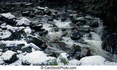 Rocky Mountain River In The Snow