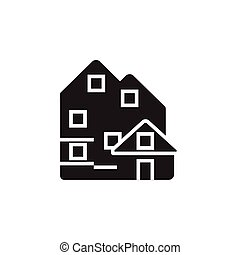 Vector icon or illustration with house in black color -...