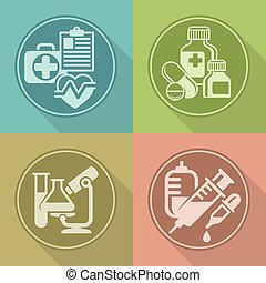 Set of medicines symbols on color