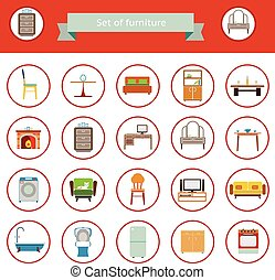 Flat Furniture Icons and Symbols Set for Living Room...