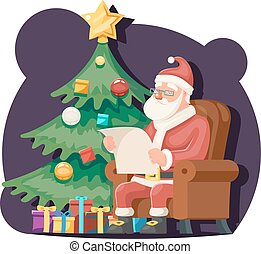 Santa Claus Read Gift List Sit Armchair Character Icon...