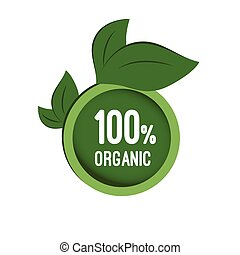 Round tag organic. Vector icon, badge, label, logo with...