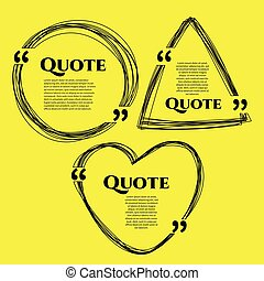 quote boxes with text isolated - Set of vector scribble hand...