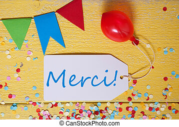 Party Label, Confetti, Balloon, Merci Means Thank You -...