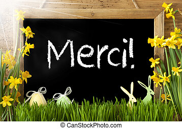 Sunny Narcissus, Easter Egg, Bunny, Merci Means Thank You -...