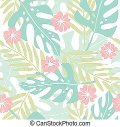 Cute hand drawn tropical seamless pattern.