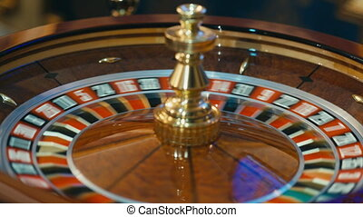 Roulette wheel spinning in the casino