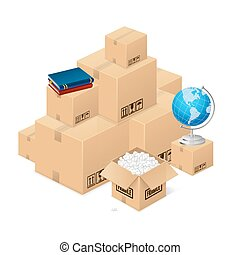 Moving Concept with a Pile of Cardboard Boxes. Vector
