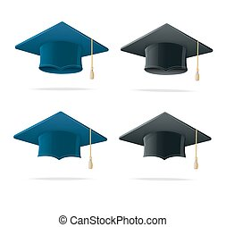 Student Hat Blue and Black Set. Vector