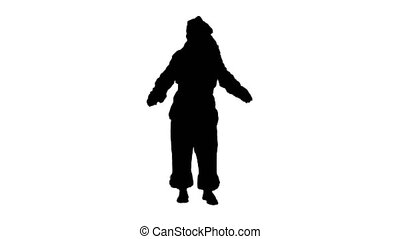 Silhouette Santa Claus Dancing isolated Green Screen....