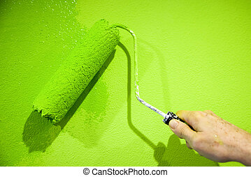 Green colour - Painting with flashy green color