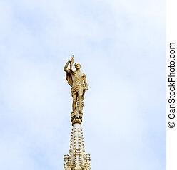 """Duomo di Milano - Statue on top of a \""""guglia\"""" of Duomo of..."""