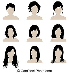 Brunette woman with different types of hairstyle
