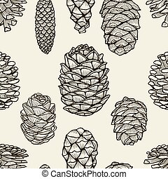 Seamless pattern with pine cones. Hand drawn sketch style...