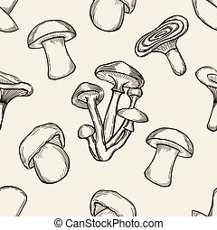 pattern with artistically drawn mushrooms - Vector black and...