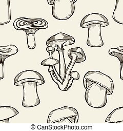 Seamless pattern with mushrooms. - Hand drawn vector...